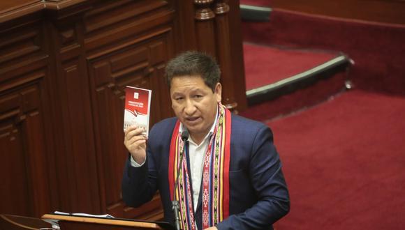 En la sesión del último jueves el presidente del Consejo de Ministros, Guido Bellido, expuso durante casi tres horas los lineamientos del Poder Ejecutivo para los próximos meses, que estuvieron divididos en 12 ejes temáticos. (Foto: PCM)