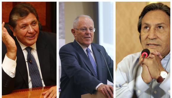 Ex presidentes Alan García, Pedro Pablo Kuczynski y Alejandro Toledo. (Foto: USI)