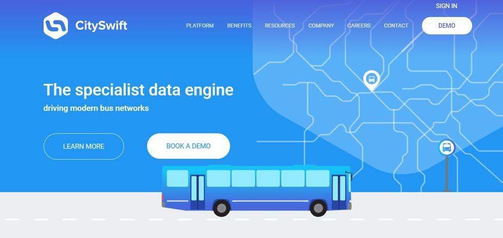 CitySwift es una plataforma de gestión de la movilidad para flotas de autobuses que quieran optimizar sus rutas, reducir costes y mejorar la experiencia de los usuarios. Gracias a una gestión inteligente de los datos, permite conocer mejor las horas punta, las rutas más adecuadas y el tiempo real que se emplea en cada ruta. Gracias a su tecnología de IA, big data y machine learning se puede anticipar cómo fluctuarán los tiempos de ruta por horas del día, semana o temporada y cómo pueden afectar acontecimientos externos como el tiempo, el tráfico y los eventos de la ciudad, generando así horarios más confiables para los pasajeros.