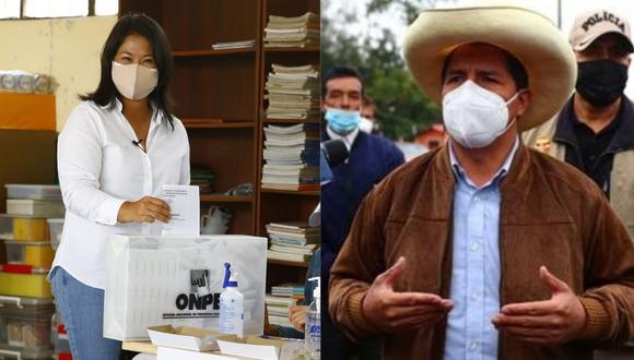 Los candidatos a la presidencia de la República, Keiko Fujimori y Pedro Castillo. (GEC)