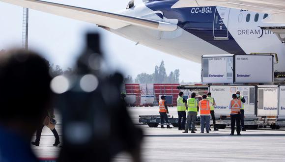 Operarios aeroportuarios descargan el contenedor con las aproximadamente dos millones de vacunas del laboratorio chino Sinovac que llegaron al Aeropuerto Internacional Arturo Merino Benítez, en Santiago (Chile). (EFE/ Alberto Valdes).