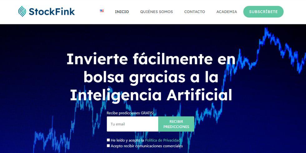 StockFink es una startup española que ha creado un algoritmo basado en técnicas de inteligencia artificial que permite detectar cuándo el precio de una acción está alto, cuándo está bajo, y cuál es su rango de variación más probable durante la siguiente semana. Su objetivo, aseguran, es democratizar la inversión en bolsa a través de la Inteligencia Artificial.