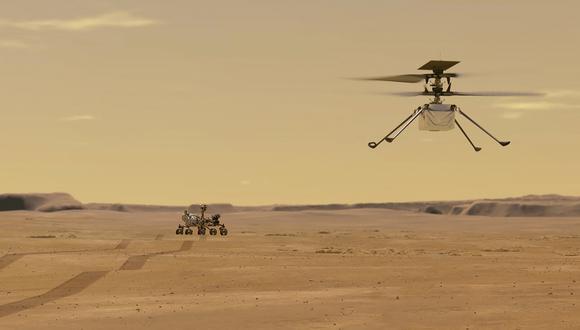 Ilustración del helicóptero Ingenuity volando en Marte. (Foto: NASA/JPL-CALTECH / AFP)