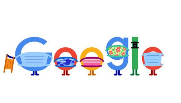 Este doodle animado recomienda a las personas a usar doble mascarilla y a mantener el distanciamiento social para evitar contagiarse del coronavirus. (Foto: Google)