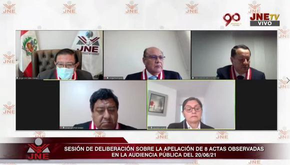 Pleno del JNE evaluó primeros 10 expedientes de apelación presentados por Fuerza Popular. (Foto: Captura JNE TV)
