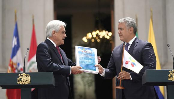 Presidida por el mandatario chileno, Sebastián Piñera, la reunión del bloque solo contó con la participación del presidente de Colombia, Iván Duque. Foto: Alianza del Pacífico