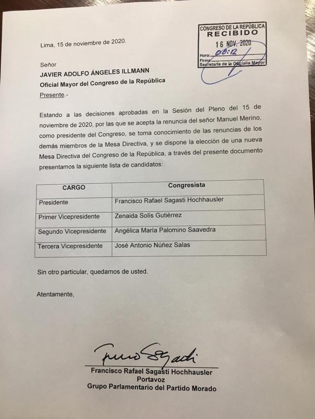 La lista está integrada por solo miembros del Partido Morado. (Documentos)