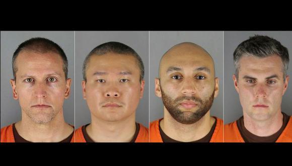 De izq. a der. los ex oficiales de Policía Derek Chauvin, Tou Thao, J. Alexander Kueng y Thomas Kiernan Lane. (Photos by Handout / Hennepin County Jail / AFP)