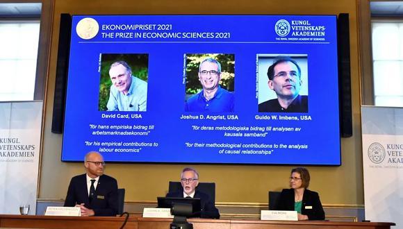 David Card, Joshua Angrist y Guido Imbens, premiados con el Nobel de Economía. (Foto: Reuters)