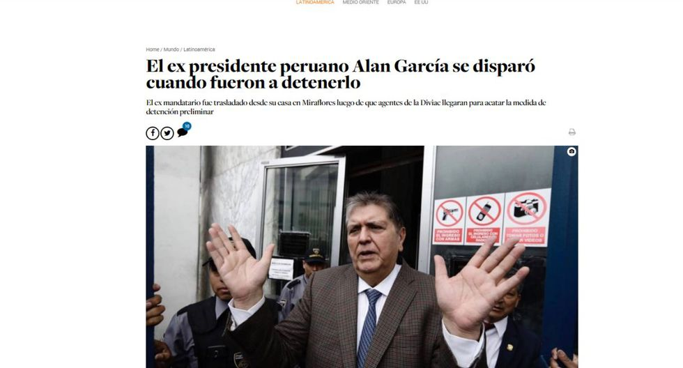 Alan García falleció este miércoles en el hospital Casimiro Ulloa. (Captura: El Nacional - Venezuela)