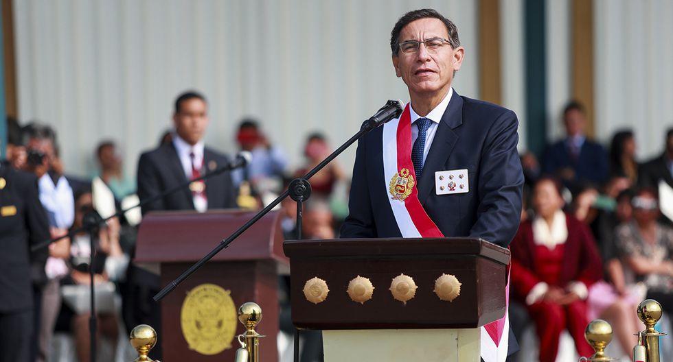 Martín Vizcarra clausuró el año académico de la Escuela de Oficiales de la PNP. (Foto: Presidencia Perú)