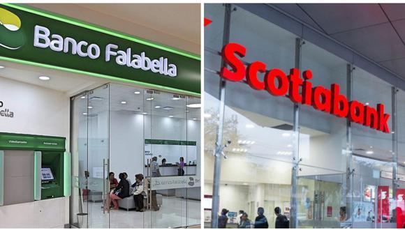 La multa para el Banco Falabella fue de 1 UIT, mientras que para Scotiabank fue de 0.6 UIT. (Composición: GEC)
