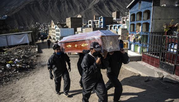Los trabajadores del cementerio llevan el ataúd de una víctima de COVID-19 en un cementerio en Comas, en Lima, Perú, que se ha convertido en el quinto país más afectado por el coronavirus. (Foto: ERNESTO BENAVIDES / AFP)
