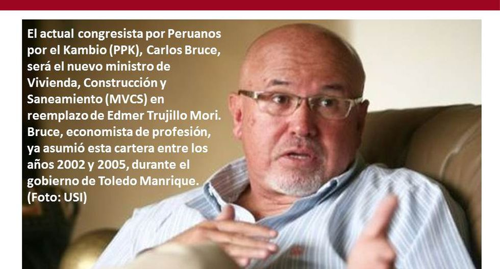 Foto 5 | El actual congresista por Peruanos por el Kambio (PPK), Carlos Bruce, será el nuevo ministro de Vivienda, Construcción y Saneamiento (MVCS) en reemplazo de Edmer Trujillo Mori. Bruce, economista de profesión, ya asumió esta cartera entre los años
