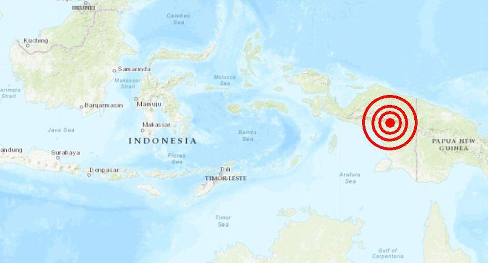 Casi 30 minutos antes del sismo en Perú, Indonesia registraba un segundo temblor de magnitud 5,0, con profundidad de 63,8 kilómetros en Tanahmerah.(Captura)
