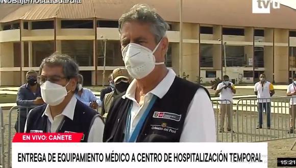 El presidente Francisco Sagasti participó en la entrega de equipamiento médico a un centro de hospitalización temporal en Cañete. (Captura: TV Perú)