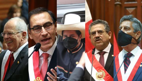 PPK, Martín Vizcarra, Pedro Castillo, Manuel Merino y Francisco Sagasti juraron en un plazo de 5 años. (Foto: GEC / Presidencia)
