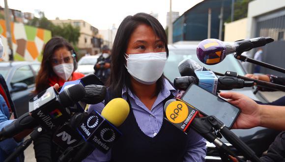 Keiko Fujimori acude a la clínica Centenario a visitar a su hermano Kenji, quien dio positivo a COVID-19. (Foto: Hugo Curotto / @photo.gec)