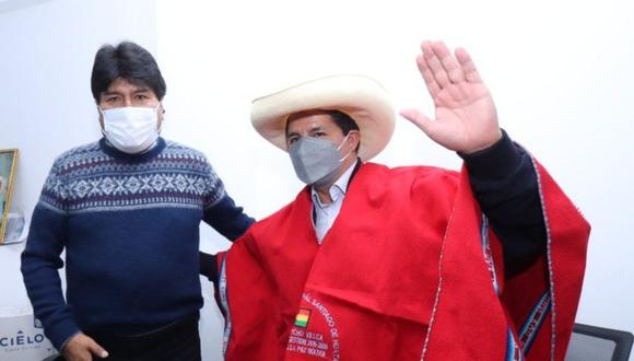 Evo Morales se reunió con Pedro Castillo este 27 de julio. (Foto: Evo Morales / Twitter)