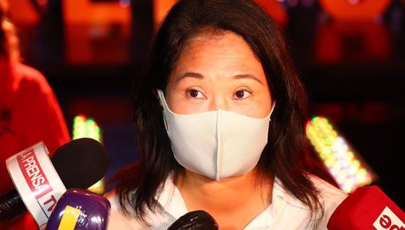 Keiko Fujimori declaró a los periodistas tras un recorrido proselitista en San Juan de Lurigancho. (Foto:  GEC)