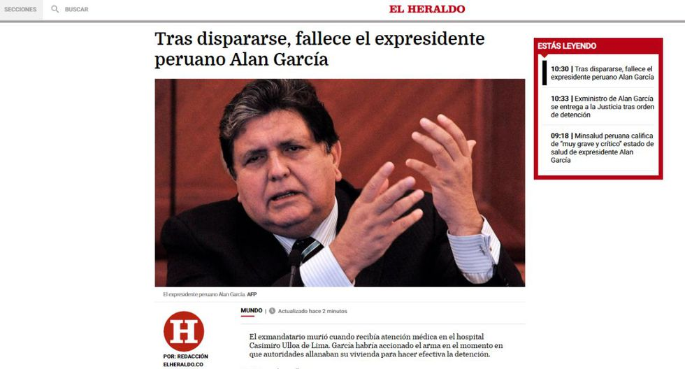 Alan García falleció este miércoles en el hospital Casimiro Ulloa. (Captura: El Heraldo - Colombia)