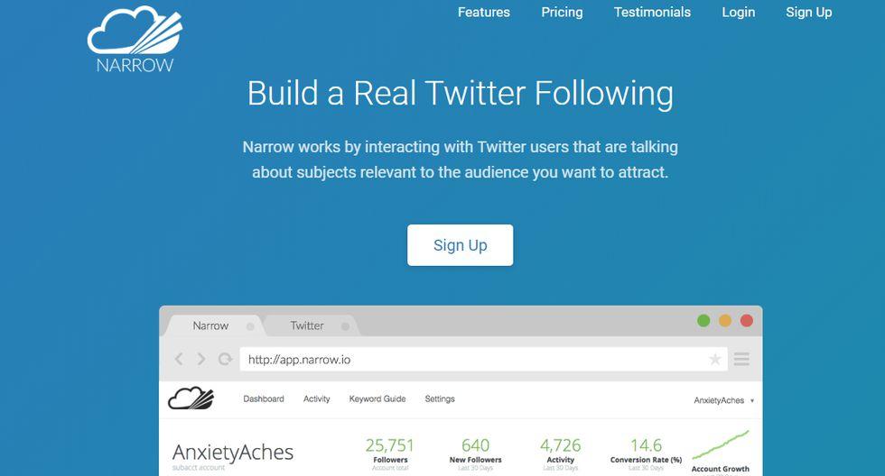 FOTO 5 | 5. Narrow.ioEsta plataforma te permite incrementar el número de seguidores en tu cuenta de Twitter de manera rápida y sencilla. No solo eso, estos followers serán personas reales verdaderamente interesadas en el mensaje que das.