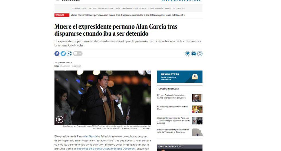 Alan García falleció este miércoles en el hospital Casimiro Ulloa. (Captura: El País - España)