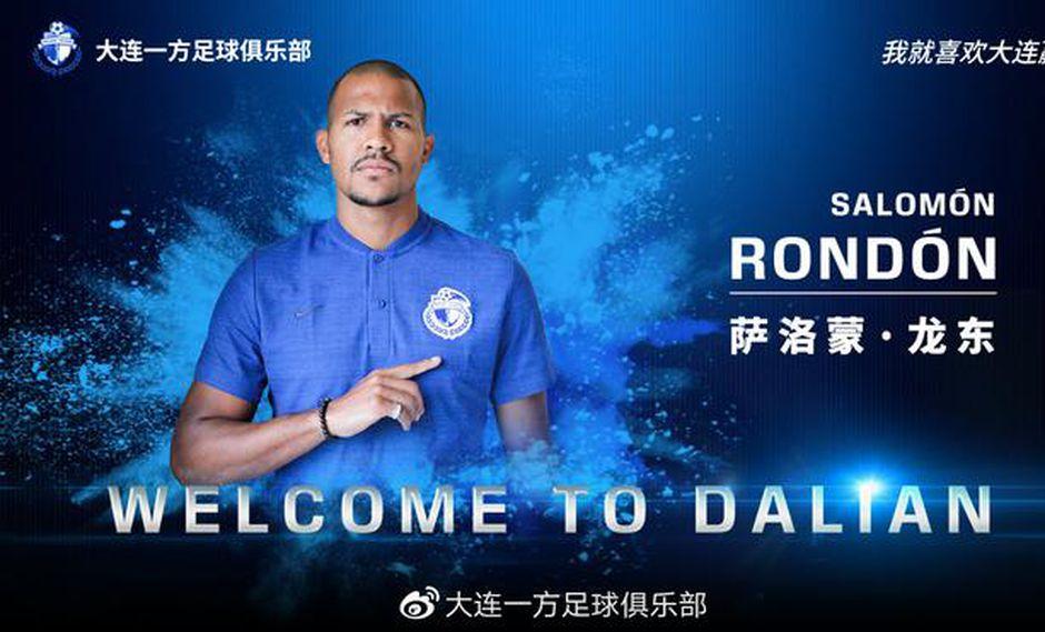Salomón Rondón ya es nuevo jugador del dalian Yifang de China. (Foto: Dalian Yifang)