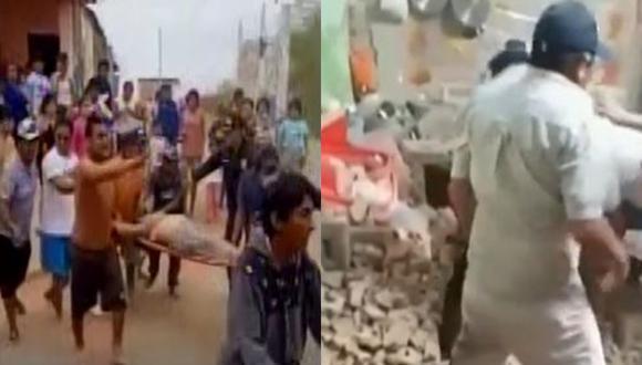 Al menos habrían dos heridos tras el movimiento sísmico de 6,1 en Sullana, región de Piura. (Captura: Videos Latina y Canal N)