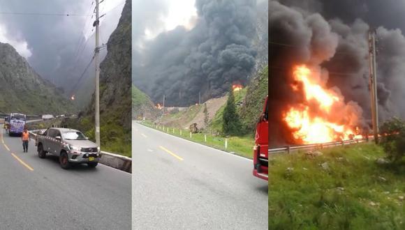 Cierran Carretera Central por incendio de convoy de camiones con combustible. (Captura: videos Twitter)