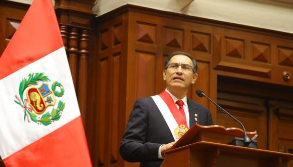 Martín Vizcarra, en su mensaje a la Nación por 28 de julio del 2018, confirmó que buscaría un referéndum para cambiar la Constitución. (Foto: Andina)