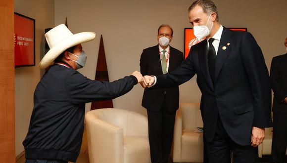 En su visita a Lima, el rey Felipe VI ha tenido un encuentro con Pedro Castillo, el presidente electo de la República del Perú. (Foto: @CasaReal)