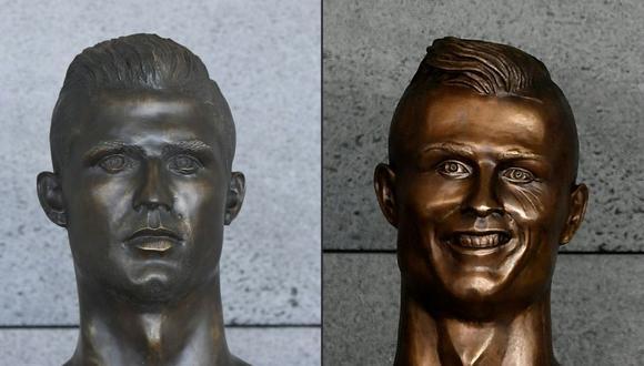 El nuevo busto de Cristiano Ronaldo (lado izquierdo) ahora se luce en el aeropuerto de Madeira. (Foto: AFP)