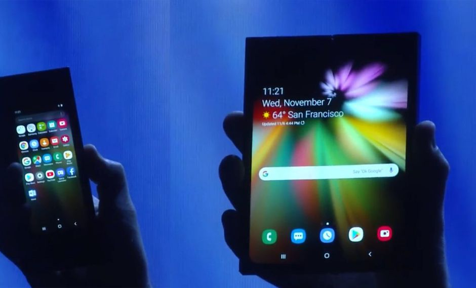 En la Conferencia de Desarrolladores de Samsung (SDC 2018), la compañía coreana presentó por primera vez en el teléfono plegable: el  Samsung Infinity Flex. (Fuente: Difusión)