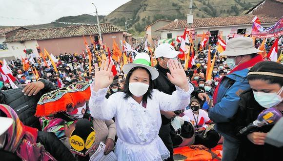 Candidata presidencial de Fuerza Popular, Keiko Fujimori, se ubica cada vez más cerca a su contendor Pedro Castillo a una semana de la segunda vuelta. Fotos : Jorge Cerdan/@photo.gec
