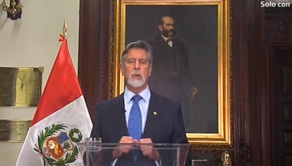 El presidente Francisco Sagasti brindó un Mensaje a la Nación. (Captura TV)