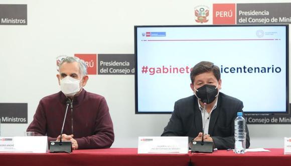 Guido Bellido, titular del Gabinete Ministerial, brindó una conferencia de prensa este miércoles luego de haber mantenido su primera sesión en la sede de la PCM. (Foto: PCM)