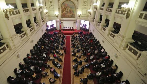 Vista general de la primera sesión de la Asamblea Constituyente en Chile el 7 de julio de 2021. (Foto: AFP).