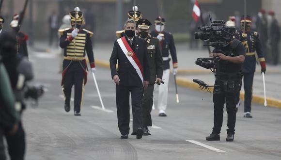 El presidente Francisco Sagasti se retiró de Palacio de Gobierno minutos antes de las 8 a.m. (Foto: Giancarlo Ávila / @photo.gec)