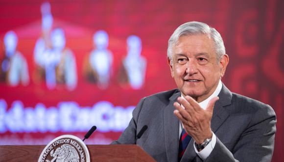 El presidente de México, Andrés Manuel López Obrador, es visto hablando durante su conferencia de prensa en el  Palacio Nacional de Ciudad de México. (EFE/Presidencia de México).
