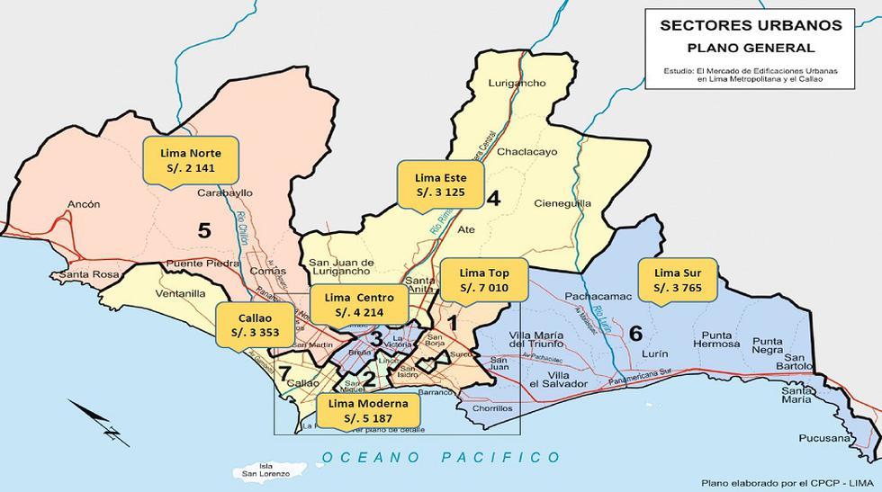 Este mapa de Lima muestra la diferencia de precios entre los distritos de Lima. A continuación, presentamos la diferencia de precios al interior de algunos de los distritos de la capital.