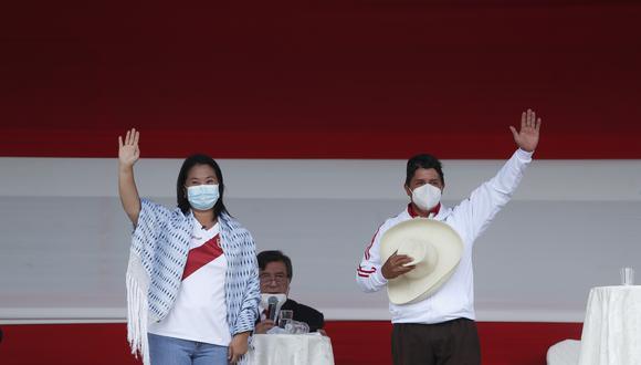 Keiko Fujimori y Pedro Castillo participaron en la segunda vuelta y el JNE está evaluando pedidos de nulidad contra diversas mesas de votación. (Foto: Hugo Perez/GEC)