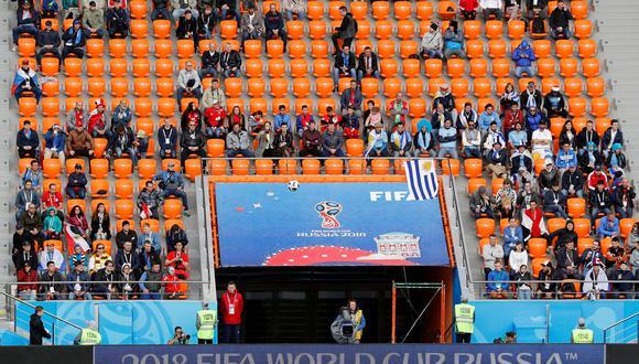 El estadio Ekaterinburg Arena, en Ekaterimburgo, Rusia. Se ve vacío en el encuentro entre Uruguay y Egipto. (Foto: Reuters)