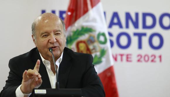 """De Soto indicó que en los próximos días viajará a Estados Unidos y se presentará en el Congreso de dicho país para alertar sobre """"lo que está pasando en el Perú"""". (Foto: Archivo/ GEC)"""