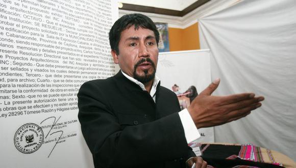 """Elmer Cáceres instó al Gobierno a anularla licencia de construcción de Tía María y a elaborar una nueva ley de minería. """"Mis paisanos no van a ceder"""", enfatizó. (Foto: GEC)"""