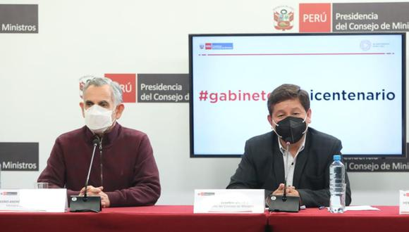 Primera conferencia de prensa del presidente del Consejo de Ministros, Guido Bellido. (Foto: PCM)