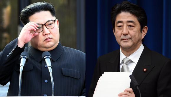El comunicado publicado por la agencia estatal de noticias KCNA. En la imagen, Kim Jong-un y Shinzo Abe. (Foto: AFP)