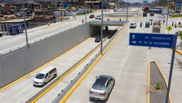 El nuevo paso a desnivel ubicado en el cruce de las avenidas 26 de Noviembre y Pachacútec, en Villa María del Triunfo (Foto: Difusión | Emape)