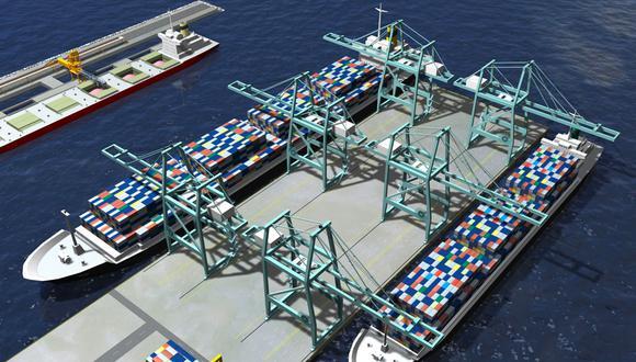 Primera etapa del Terminal Multipropósito  Portuario de Chancay consta de 3 componentes: el complejo de ingreso, el túnel viaducto subterráneo y la zona operativa portuaria. (Foto: Difusión)