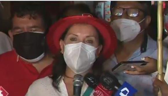 Candidata a la vicepresidencia de Perú Libre, Dina Boluarte, indicó que buscarán alianzas con otras agrupaciones políticas, pero no cambiarán su mensaje político ni sus planes en un eventual Gobierno. (Foto: Captura Canal N)